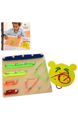Дерев'яна іграшка Шнурівка MD 1193 резиночки, шнурки, кор., 23-24-4 см.