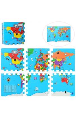 Килимок Мозаїка M 2612 EVA, карта світу, 6 дет., кул., 31,5-31,5-6 см.