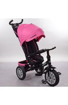 Велосипед M 3646A-15 3 гум. кол. (12/10), колясочний, поворот, кермо трансф., ніжно-рожевий.