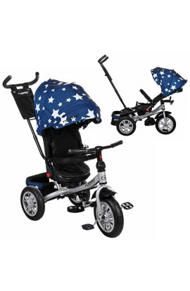 Велосипед M 3646A-6 3 гум. кол. (12/10), колясочний, поворот, кермо трансф., темно-синій, зірки.