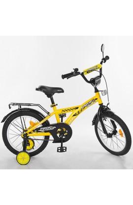 Велосипед дитячий PROF1 16 д. T1632 Racer, дзвінок, доп. колеса, жовтий.