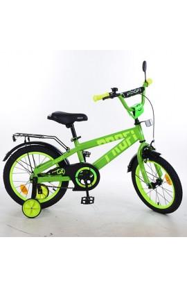 Велосипед дитячий PROF1 16 д. T16173 Flash, дзвінок, доп. колеса, салатовий.
