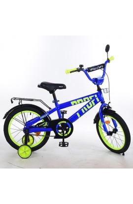 Велосипед дитячий PROF1 16 д. T16172 Flash, дзвінок, доп. колеса, синій.
