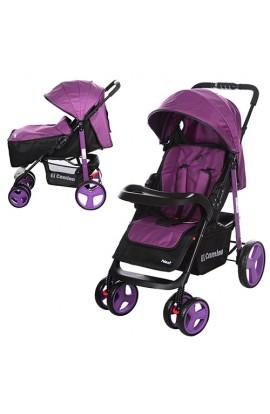 Візок дитячий M 3444-9-2 прогулянковий, книжка, колеса 4 шт., фіолетовий.