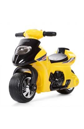 Толокар-мотоцикл 617-6 дитячий, муз., світло, бат., жовтий.