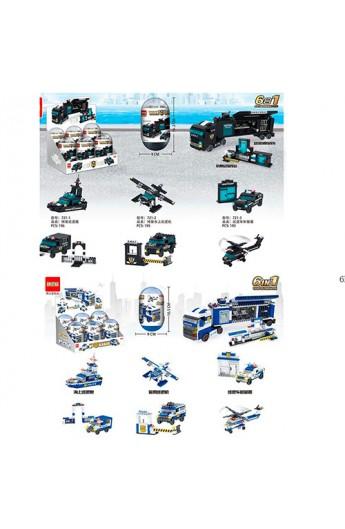Конструктор 721-722 транспорт, колба, 2 види (спецназ, поліція), 6 шт. (мікс) в диспл., 28-17-19 см.