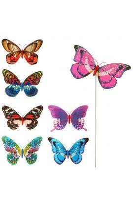 Вітрячок M 3722 розмір маленький, діаметр 20 см., метелик, блиск, мікс кольорів, паличка метал 45 см
