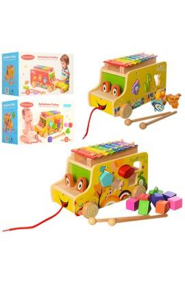 Дерев'яна іграшка Гра MD 1173 машинка, каталка, ксилофон, сортер, 2 види, кор., 28,5-18-18,5 см.