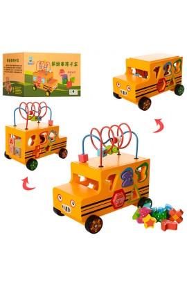 Дерев'яна іграшка Гра MD 1179 машинка, лабіринт на дроті, сортер, кор., 28-17-18,5 см.