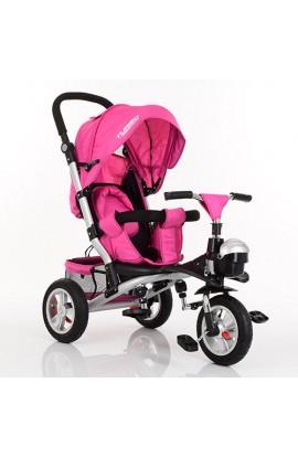 Велосипед M 3647A-18 3 гум. колеса, колясочний, регул. сидіння, кошик, малиновий.