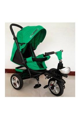 Велосипед M 3647A-N4 3 гум. колеса, колясочний, регул. сидіння, кошик, зелений.