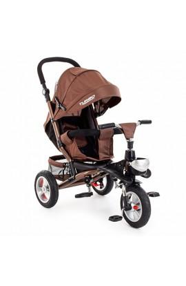 Велосипед M 3647A-13 3 гум. колеса, колясочний, регул. сидіння, кошик, шоколад.