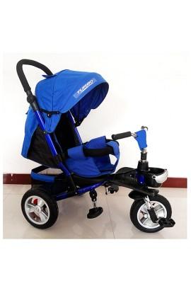 Велосипед M 3647A-14 3 гум. колеса, колясочний, регул. сидіння, кошик, синій індиго.