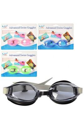 Окуляри для плавання QD118-1 регул. ремінець, 4 кольори, лист, 14-19-2,5 см.