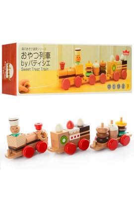 Дерев'яна іграшка Поїзд MD 0970 каталка, локомотив, вагон 2 шт., кор., 44,5-13,5-8,5 см.