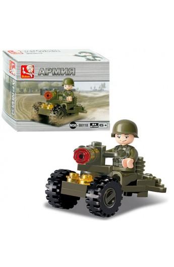 """Конструктор SLUBAN M38-B0118  """"Армія """": кулемет, фігурка, 24 дет."""