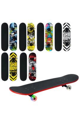 Скейт MS 0355 6 видів, кольорові колеса, мет. підвіска, розібр., 79-20 см