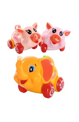 Тварина 225 A 5001-2 інерц., 2 види, 2 кольори, свинка, слоник, кул., 12-9-7 см