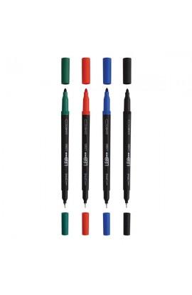 Маркер тонкий-файнлайнер двухсторонний 160мм L2383-04 синий