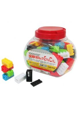 """8328 Точилка  """"Лего """" с контейнером, в банке, микс"""