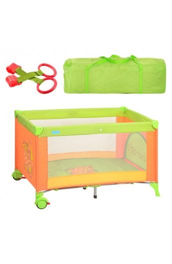 Манеж M 1600 дитячий, 2 колеса, змійка, зелено- помаранчевий, сумка, 65-120-72 см