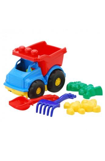 "Машина ""Тотошка"" самоскид №2: машинка, лопата, грабелька (ЛГ4) і  дві великі пасочки (П4) COLORPLAST 0176"