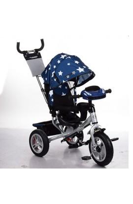 Велосипед M 3115HA-S11 три гум. колеса (12/10), колясоч., вільний хід кол., гальмо, пульт, темно-син
