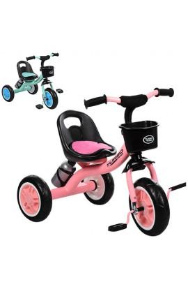 Велосипед M 3197-M-1 три кол. EVA, кошик попереду, пляшка, накладка на сидіння, 2 кольори (ніжно-рож