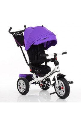 Велосипед M 3646A-8 три гум.кол. (12/10), колясочний, поворот, кермо трансформ., темно-фіолетовий.