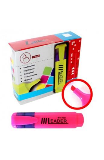 Маркер текстовий, LR-7001 розовий Leader