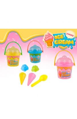 Набір для пісочниці 610 морозиво, відерце, форм. 4 шт., лопатка, 3 кольори, 16-14-16 см.