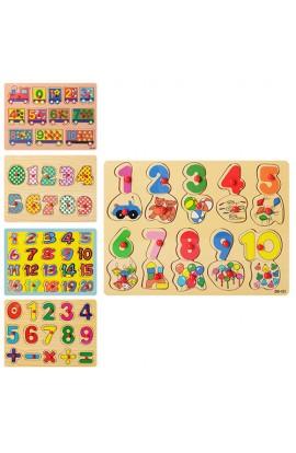 Дерев'яна іграшка Рамка-вкладиш MD 0646 ручка, цифри, 5 видів, 29,5-21,5 см