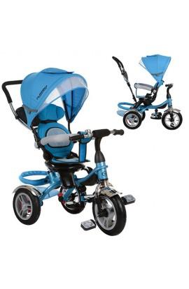 Велосипед M 3114-5Aтри гумові колеса, колясочний, вільний хід коліс, гальмо, підшипник, блакитний.