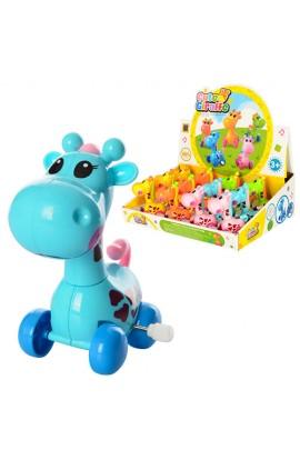 Заводна іграшка 0876 жираф, рухає головою і хвостиком, 12 шт. (5 кольорів) в диспл., 33,5-25-10,5 см