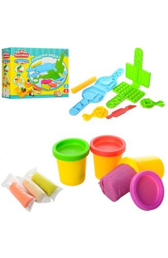 Пластилін MK 0134 3 кольори, вафельниця, формочки, кор., 24-18-6 см