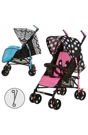Візок дитячий M 2719 прогул., гл.криша, колеса 8 шт., 5 пол. спинки, кошик, 2 кольори, роз.-чорн.,