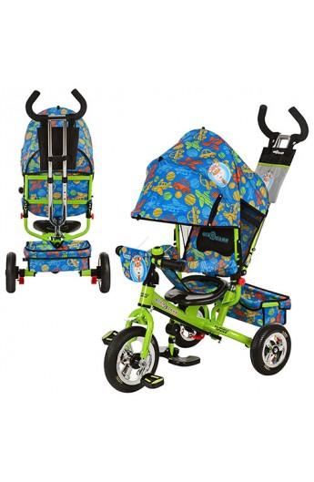 Велосипед LE-3-01 надувні три колеса, колясочний, зелено-синій, посилена подвійна ручка, підшипники