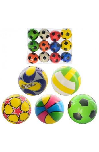 М'яч дитячий фомовий-3  MS 0388 5 видів, 12 шт. кул., 24-18-6 см