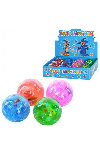 Стрибуни MS 0407 4 кольори, водяні, блискітки, рибка, світло, 12 шт. в диспл., 24-18-6 см