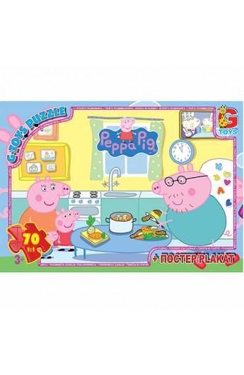 """Пазли  із серії """"Свинка Пеппа"""", 70 елементів PP005 ТМ """"G-Toys"""""""