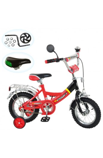 """Велосипед PROFI дитячий 12 """" P 1246A приставні колеса, дзеркало, дзвоник, червоно-чорний"""