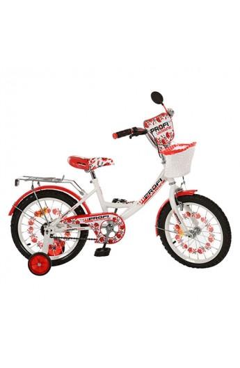 """Велосипед PROFI UKRAINE дитячий 18 """" P1859UK-2 дзвоник, дзеркало, приставні колеса, біло-червоний, к"""