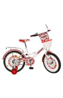 """Велосипед PROFI UKRAINE дитячий 18 """" P1839 UK-1 дзвоник, дзеркало, приставні колеса, біло-червоний,"""
