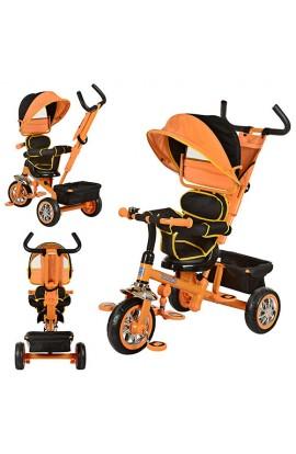Велосипед B32-TM-2 три колеса, поворотний, м'яке сидіння, посилена ручка, сумка, помаранчевий