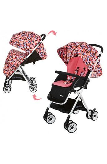 Візок дитячий AMORE M 3405-8 прогулянковий, колеса 8 шт., кошик, чохол, коралово-чорний
