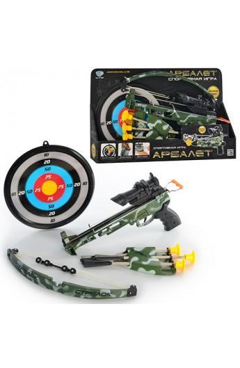 Арбалет M 0488 стріли на присосках, приціл, лазер, мішень, колчан, кор., 45-28,5-6,5 см