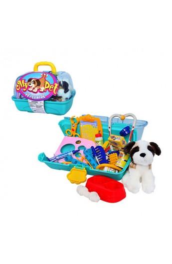 Ветеринарний набір 21021 собачка, інструменти, чемодан, 35-24-24 см