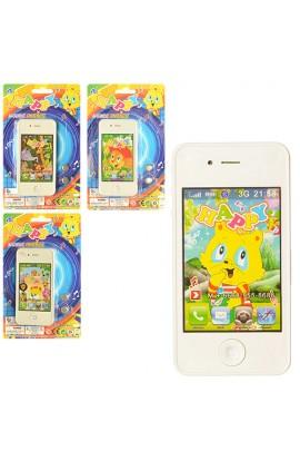 Телефон MS778-A23-24-25 4 види, муз., світло, бат., лист, 12-19-1 см.