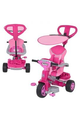 Велосипед дитячий триколісний 800007099 ручка, дах, сумка, рожевий, кор., 74-54-56,5 см