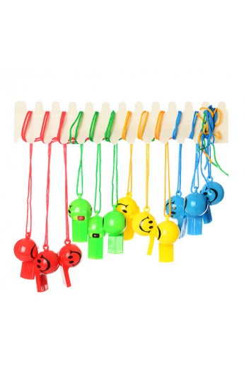 Свисток MS 0882 пластик, шнурок, 4 кольори, смайл, 5,5-3-3см.